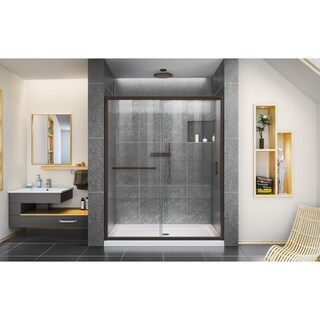DreamLine Infinity-Z 50-54 in. W x 72 in. H Semi-Frameless Sliding Shower Door, Clear Glass
