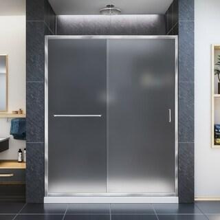 "DreamLine Infinity-Z 50-54 in. W x 72 in. H Semi-Frameless Sliding Shower Door, Frosted Glass - 50"" - 54"" W"
