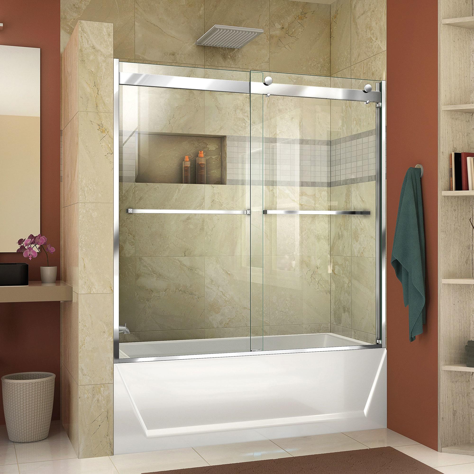 Shop DreamLine Essence-H 56-60 in. W x 60 in. H Frameless Bypass Tub ...