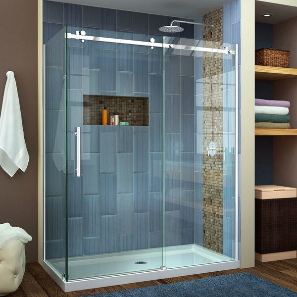 DreamLine Enigma Air 34 3/4 in. D x 48 3/8 in. W x 76 in. H Frameless Sliding Shower Enclosure