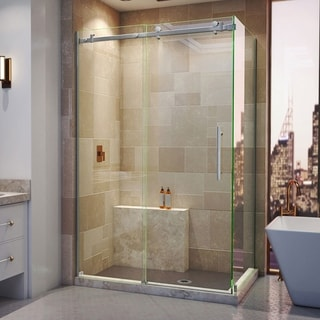 "DreamLine Enigma Air 34 3/4 in. D x 48 3/8 in. W x  76 in. H Frameless Sliding Shower Enclosure - 34.75"" x 44.38"" - 48.38"""