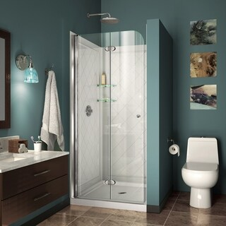 DreamLine Aqua Fold 32 in. D x 32 in. W x 74 3/4 in. H Frameless Bi-Fold Shower Door with Base and QWALL-5 Backwalls Kit