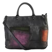 Diophy Genuine Leather Geometry Collage Large Tote