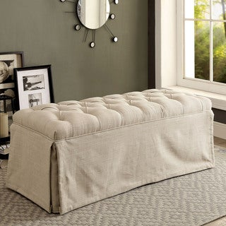 Link to Furniture of America Vord Transitional Fabric Tufted Slipcover Bench Similar Items in Kitchen & Dining Room Chairs