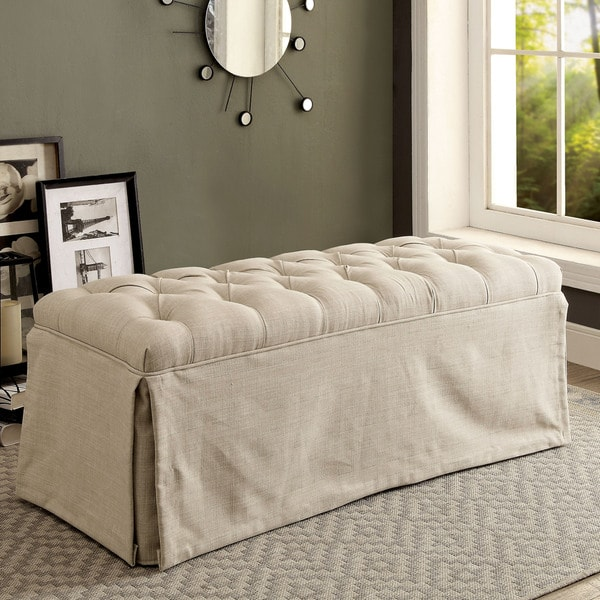 Furniture of America Vord Transitional Fabric Tufted Slipcover Bench. Opens flyout.
