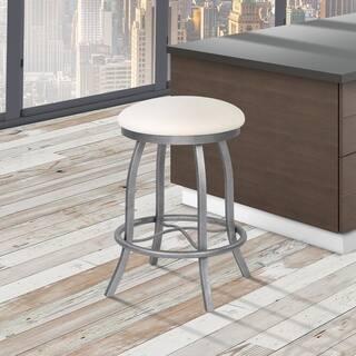 Somette Modern Backless Upholstered Stainless Steel 26