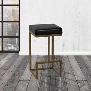 Taylor Gray Home Fortuna Black/Copper Faux-leather/Metal 26-inch Counter-height Backless Bar Stool