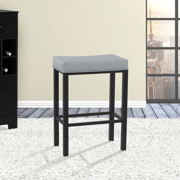 Shop Fran 26 Counter Height Metal Backless Barstool In Gray Steel