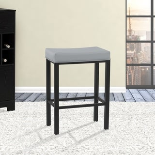 Fran Grey Steel Faux Leather Matte Black Finish Metal Frame 26-inch Counter-height Backless Barstool