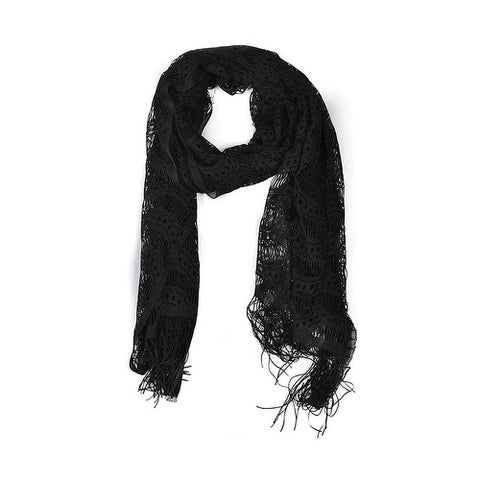 Wrapables Laced Lightweight Colorful Rectangle Black Scarves