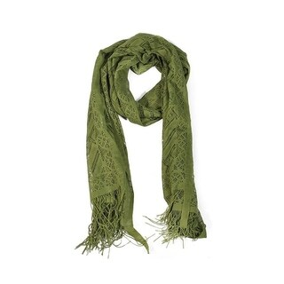 Wrapables Laced Lightweight Colorful Rectangle Olive Scarves