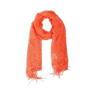 Wrapables Laced Lightweight Colorful Rectangle Orange Scarves