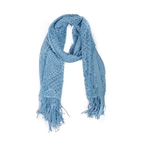 Wrapables Laced Lightweight Colorful Rectangle Blue Scarves