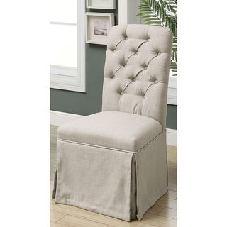 Furniture of America Jahaven II Classic Tufted Skirted Side Chairs (Set of 2)