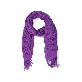 Wrapables Laced Lightweight Colorful Rectangle Purple Scarves