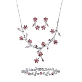 Pink Crystal Silvertone 3-Piece Floral Vine Set