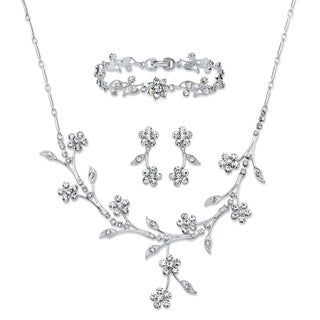 Crystal Silvertone Floral Vine 3-Piece Set