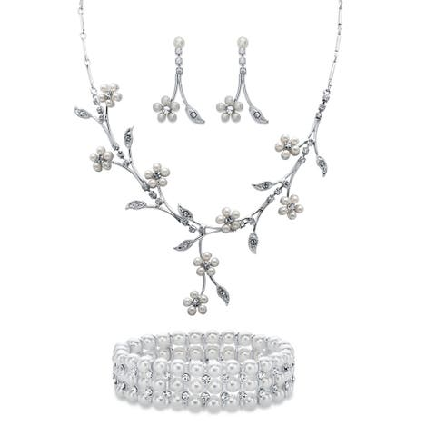 """Simulated Pearl and Crystal Silvertone 3-Pc Set 16""""-19"""""""