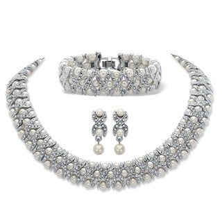 "Simulated Pearl and Crystal Silvertone ""X & O"" Set"