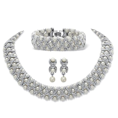 """Simulated Pearl and Crystal Silvertone """"X & O"""" Set"""