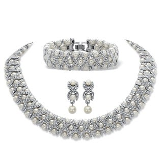 "Link to Simulated Pearl and Crystal Silvertone ""X & O"" Set Similar Items in Jewelry Sets"
