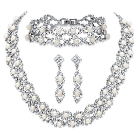 Simulated Pearl and Crystal Silvertone 3-Piece Set