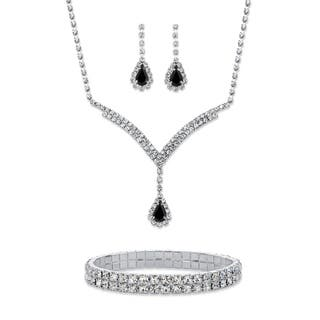 "Black Crystal Silvertone 3-Piece Halo Set 13""-17""
