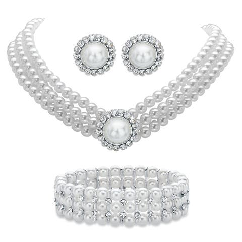 """Simulated Pearl and Crystal Silvertone 3-Pc Set 13""""-16"""""""