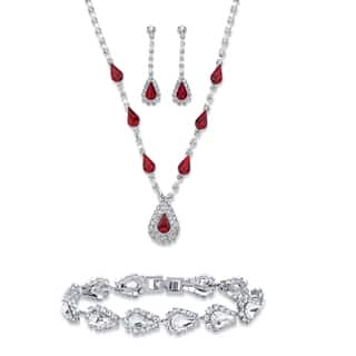 "Red Crystal Silvertone 3-Piece Set 13""-17""
