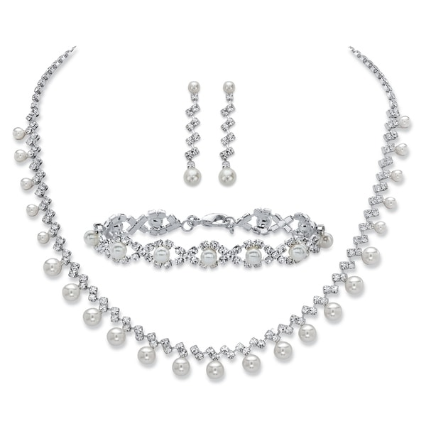 "Simulated Pearl and Crystal Silvertone Set 16.5""-19.5"""