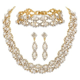 Simulated Pearl and Crystal Gold Tone 3-Piece Set