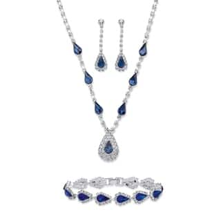 "Blue Crystal Silvertone 3-Piece Halo Set 13""-17""