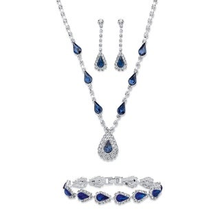 "Blue Crystal Silvertone 3-Piece Halo Set 13""-17"""