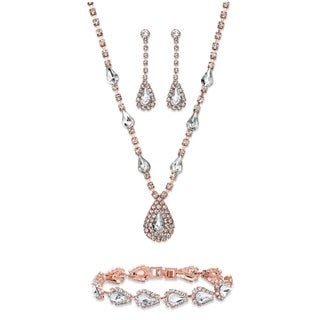 "Crystal Rose Gold Tone 3-Piece Halo Set 13""-17""