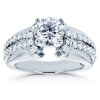 Annello by Kobelli 14k White Gold 1 1/2ct TDW Diamond Split Shank Engagement Ring