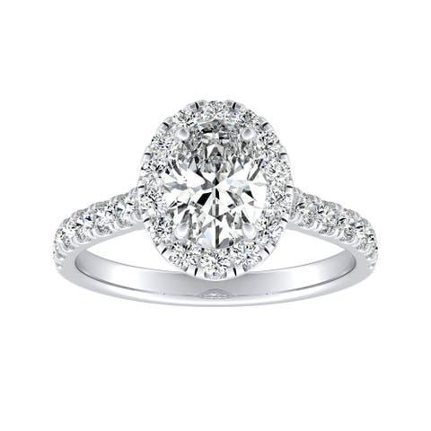 Auriya Platinum Classic Oval-cut 7/8cttw Halo Diamond Engagement Ring