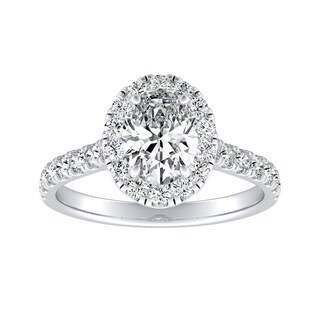 Auriya Plat Certified 1ct TDW Oval Halo Diamond Engagement Ring