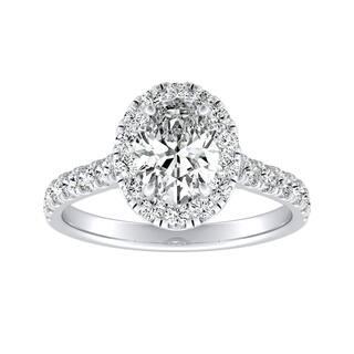 Auriya Platinum 7/8cttw Classic Halo Oval Diamond Engagement Ring