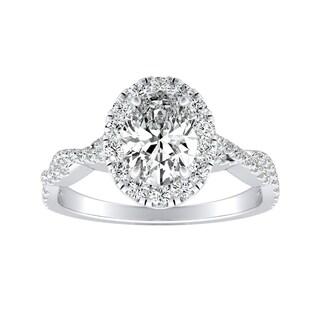 Auriya Platinum 1/2ct TDW Oval-cut Diamond Halo Engagement Ring - White G-H