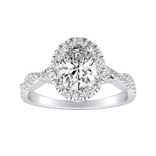 Auriya Platinum 1/2ct TDW Twisted Infinity Oval Halo Diamond Engagement Ring (More options available)