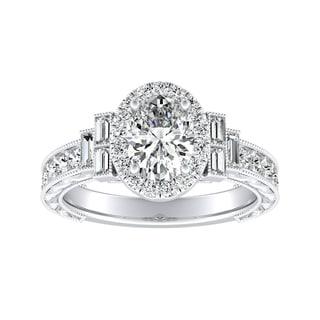 Auriya Platinum 1 1/2ct TDW Oval Diamond Vintage Halo Engagement Ring - White G-H