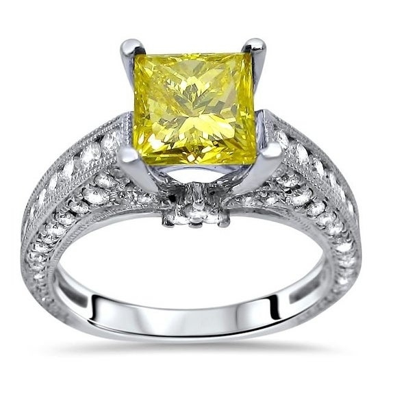 accf13a504 Shop Noori 2 1/2ct Canary Yellow Princess Cut Diamond Engagement Ring 18k  White Gold - On Sale - Free Shipping Today - Overstock - 18690644
