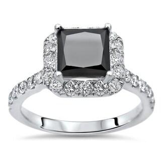 2 1 5ct Black Princess Cut Diamond Engagement Ring 18k White Gold