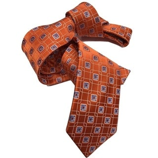 Dmitry Men's Orange/Blue Patterned Italian Silk Tie