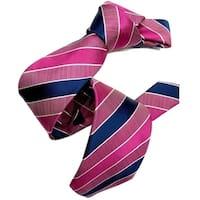 Dmitry Men's Pink/Navy Striped Italian Silk Tie