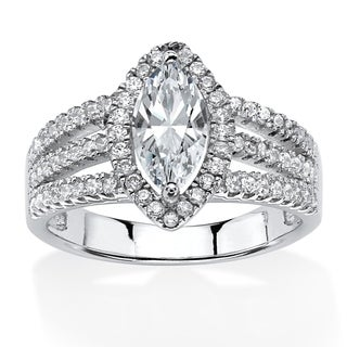Platinum over Sterling Silver Cubic Zirconia Halo Engagement Ring - White