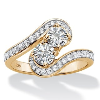 1.39 TCW CZ 14k Gold-Plated Silver 2-Stone Ring