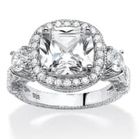 4.28 TCW CZ Halo Ring in Sterling Silver