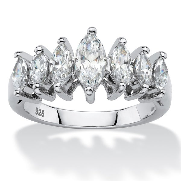 d16f93597 Shop Platinum over Sterling Silver Cubic Zirconia Ring - White - On Sale -  Free Shipping On Orders Over $45 - Overstock - 18691650