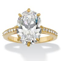 14K Gold-plated Cubic Zirconia and Swarovski Elements Engagement Ring - White